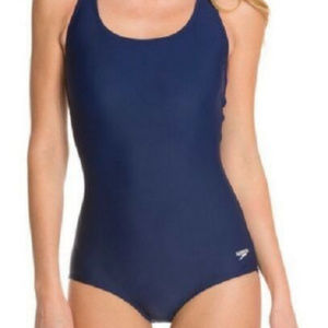 NWT! Speedo Navy Blue Powerflex One Piece Swimsuit